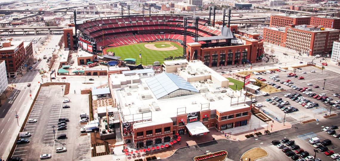 Aerial View of Busch Stadium and Ballpark Village